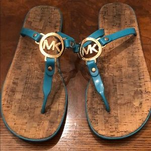 Michael Kors teal sandals